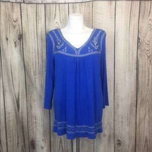 Simply Irresistible Blue Embroidered Tunic Top Lar